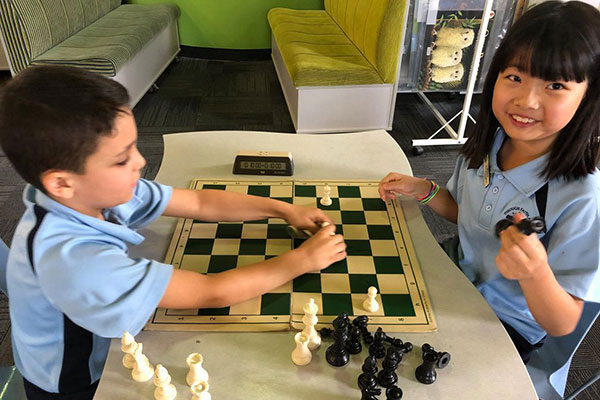 St Kevin's Catholic Primary School Eastwood students playing chess